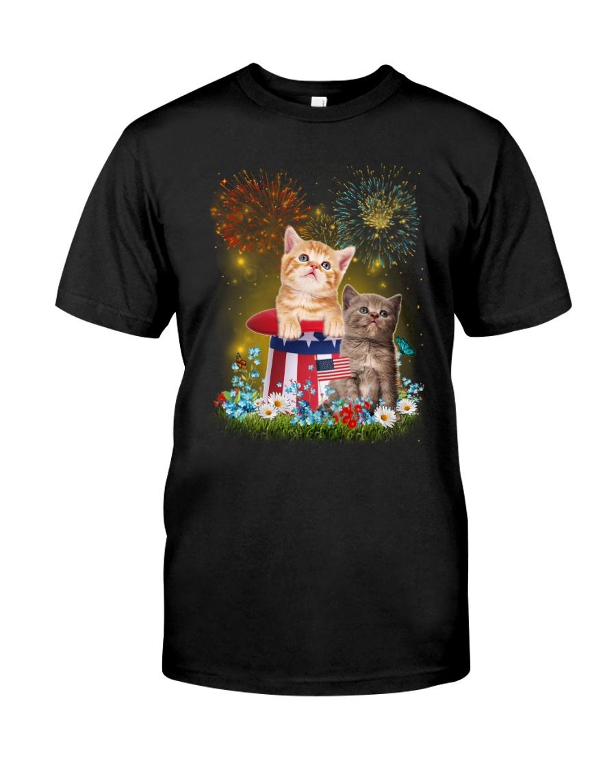 Cat Firework America Classic T-Shirt