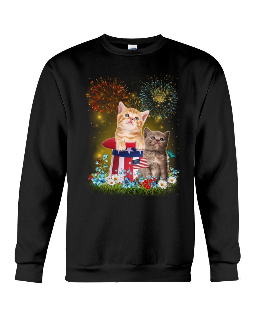 Cat Firework America Crewneck Sweatshirt