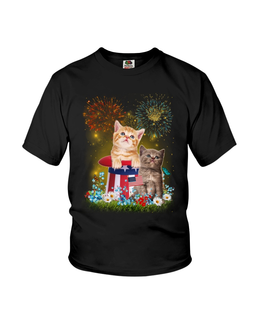 Cat Firework America Youth T-Shirt