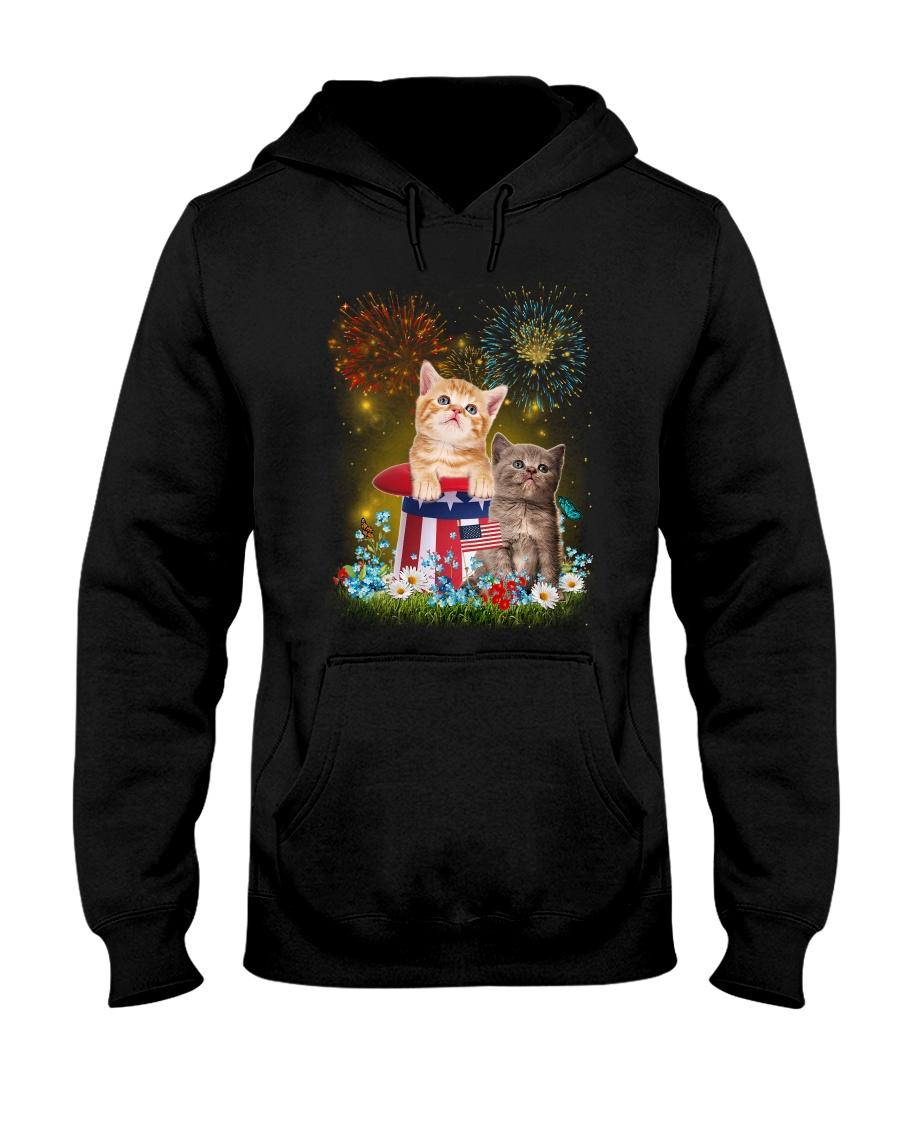 Cat Firework America Hooded Sweatshirt