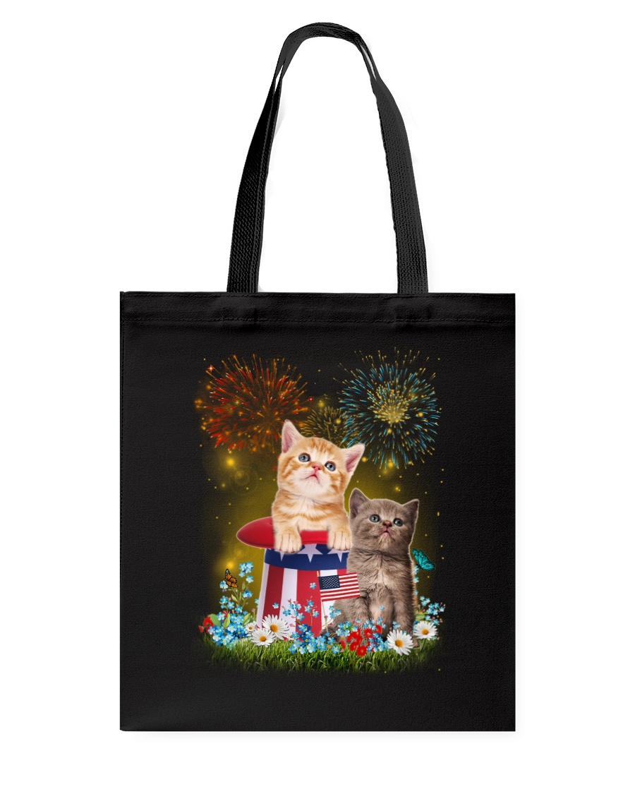 Cat Firework America Tote Bag