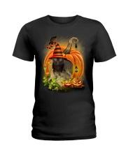 Black Cat Trick Or Treat Ladies T-Shirt thumbnail