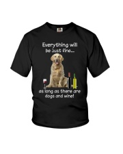 Golden Retriever And Wine Youth T-Shirt thumbnail