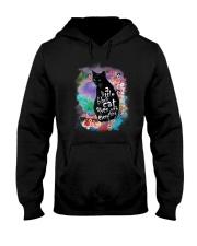 Black Cat Flower Hooded Sweatshirt thumbnail