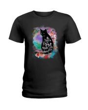 Black Cat Flower Ladies T-Shirt thumbnail