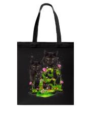 Black Cat Flower Tote Bag thumbnail