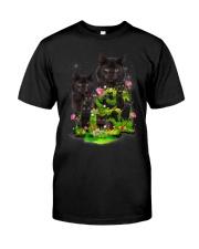 Black Cat Flower Classic T-Shirt front
