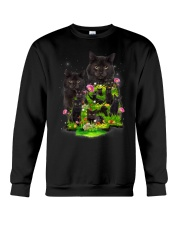 Black Cat Flower Crewneck Sweatshirt thumbnail