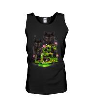 Black Cat Flower Unisex Tank thumbnail