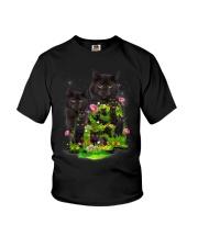 Black Cat Flower Youth T-Shirt thumbnail