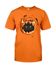 Black Cat In Pumpkin Classic T-Shirt front