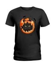 Black Cat In Pumpkin Ladies T-Shirt thumbnail