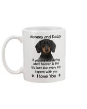 Dachshund Mommy And Daddy Mug back