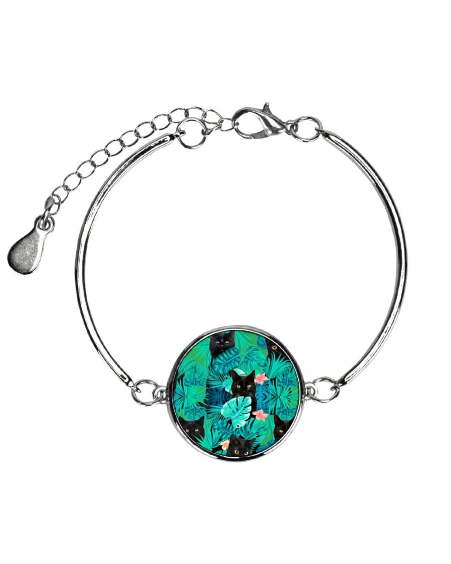 Cat Tropical Flowers Halloween Metallic Circle Bracelet