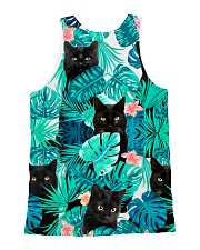 Cat Tropical Flowers Halloween All-over Unisex Tank back