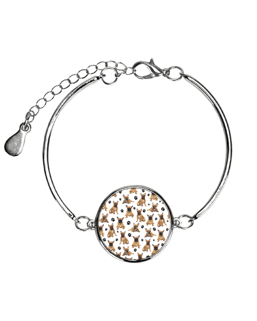 French Bulldog Pawprint Metallic Circle Bracelet