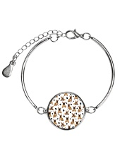 French Bulldog Pawprint Metallic Circle Bracelet front