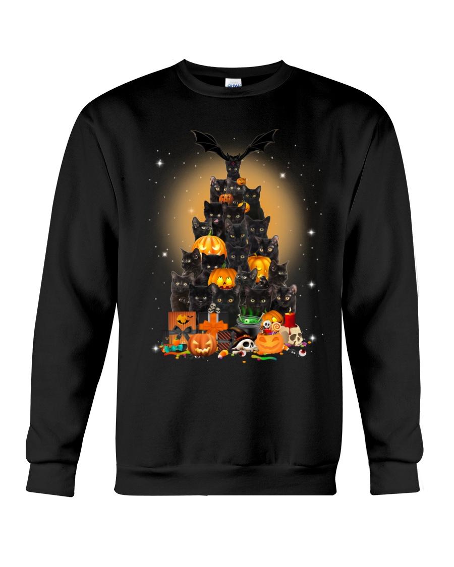Black Cat Tree Halloween Crewneck Sweatshirt