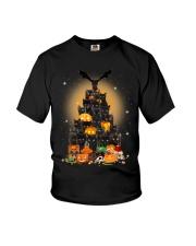Black Cat Tree Halloween Youth T-Shirt thumbnail