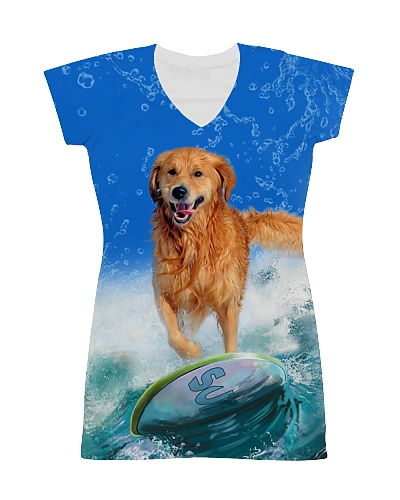 Golden Retriever Surf Wave