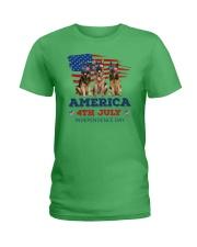 4th July German Shepherd Ladies T-Shirt front