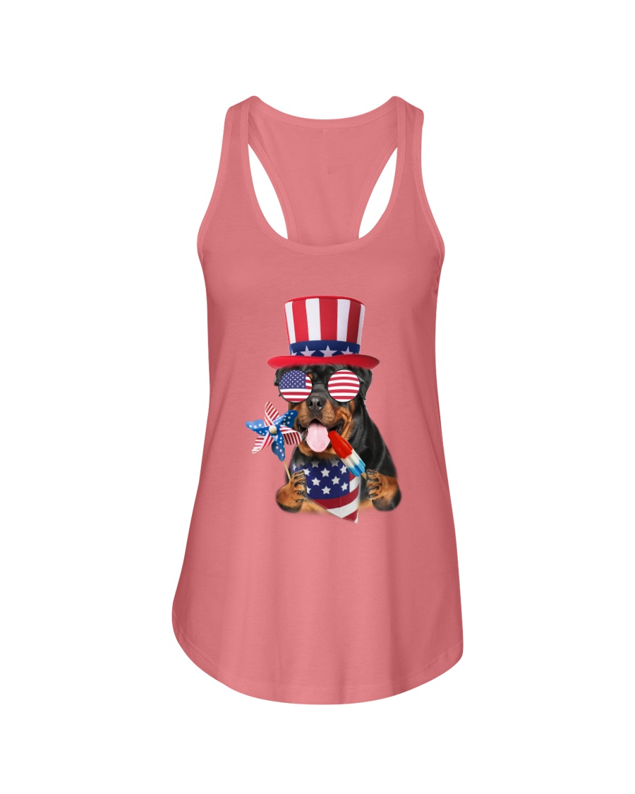 Independence Day Rottweiler Ladies Flowy Tank