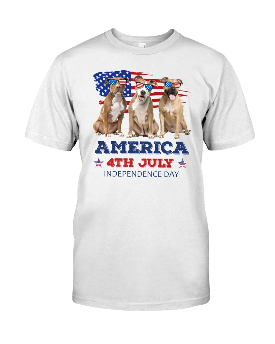 4th July American Staffordshire Terrier Classic T-Shirt