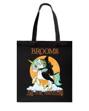 Black Cat Riding Witch Unicorn Tote Bag thumbnail