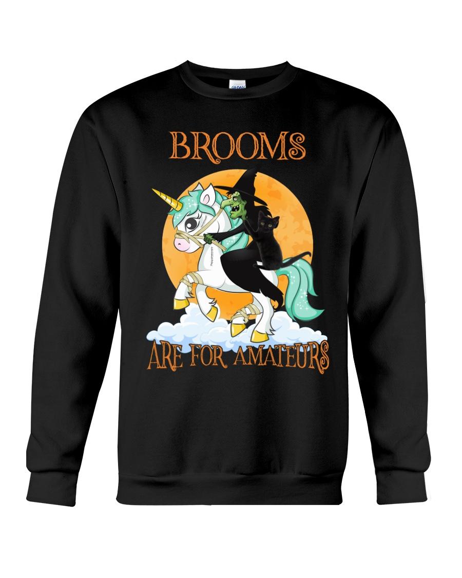 Black Cat Riding Witch Unicorn Crewneck Sweatshirt