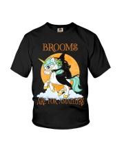Black Cat Riding Witch Unicorn Youth T-Shirt thumbnail