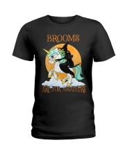 Black Cat Riding Witch Unicorn Ladies T-Shirt thumbnail