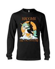 Black Cat Riding Witch Unicorn Long Sleeve Tee thumbnail