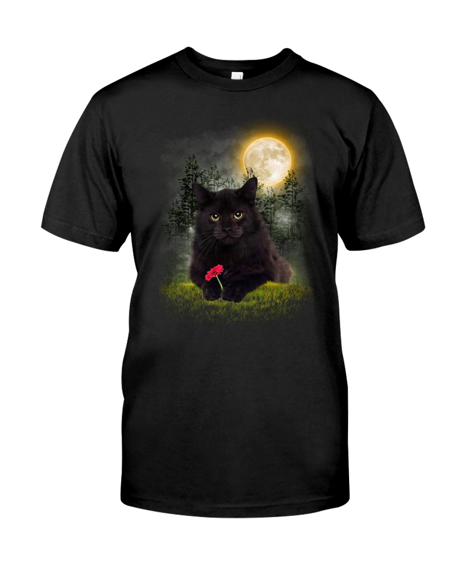 Black Cat Flower Classic T-Shirt