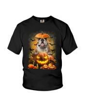 Bulldog And Pumpkin Youth T-Shirt thumbnail