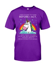 Think Before Act Unicorn Classic T-Shirt front
