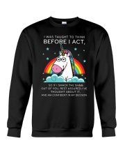Think Before Act Unicorn Crewneck Sweatshirt thumbnail