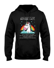 Think Before Act Unicorn Hooded Sweatshirt thumbnail