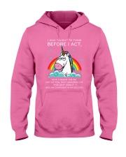 Think Before Act Unicorn Hooded Sweatshirt front