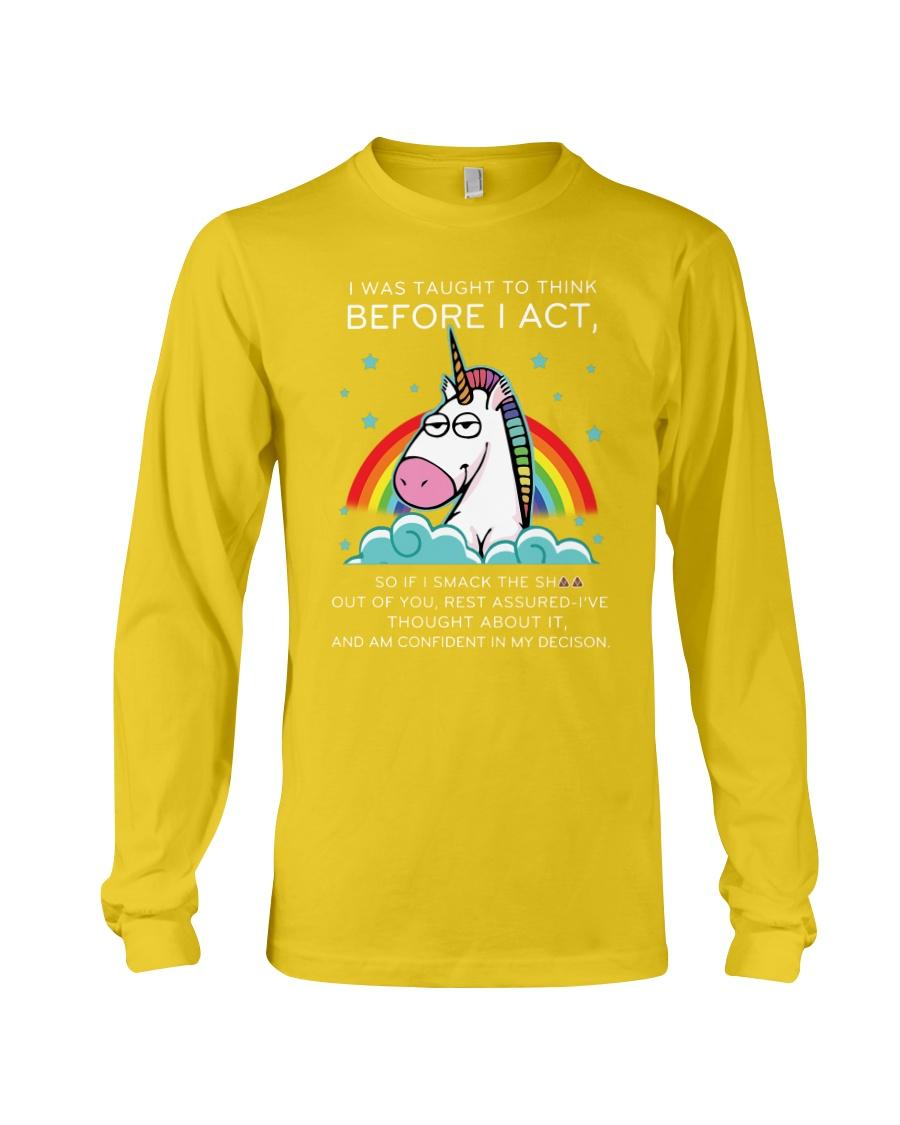 Think Before Act Unicorn Long Sleeve Tee