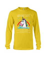 Think Before Act Unicorn Long Sleeve Tee front