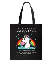 Think Before Act Unicorn Tote Bag thumbnail