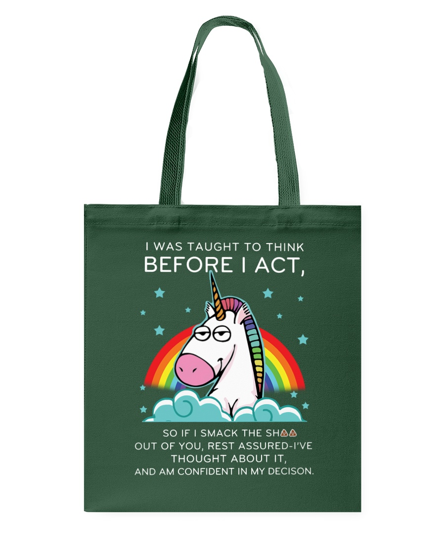 Think Before Act Unicorn Tote Bag