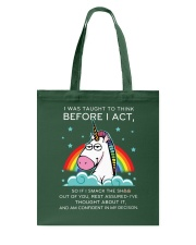 Think Before Act Unicorn Tote Bag front
