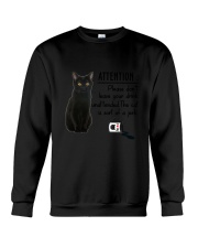 Black Cat Attention Crewneck Sweatshirt thumbnail