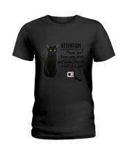 Black Cat Attention Ladies T-Shirt thumbnail
