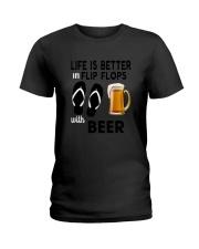 Flip Flops Beer Ladies T-Shirt thumbnail