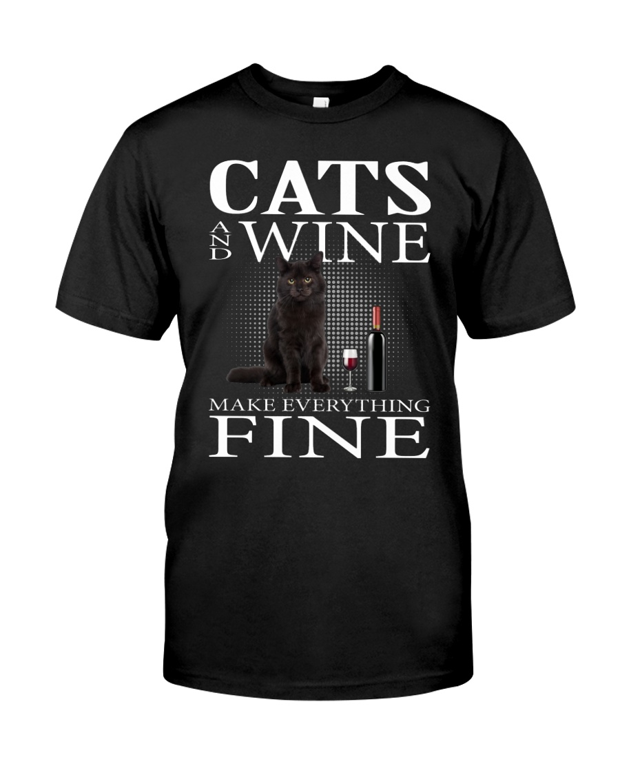 Cat And Wine Classic T-Shirt