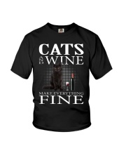 Cat And Wine Youth T-Shirt thumbnail