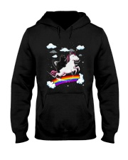 Black Cat Riding Unicorn  Hooded Sweatshirt thumbnail