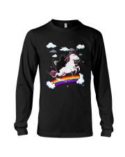 Black Cat Riding Unicorn  Long Sleeve Tee thumbnail